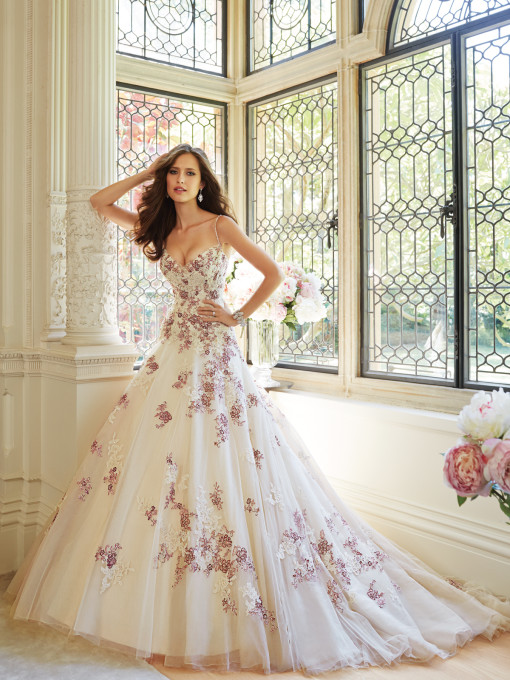 Sophia Tolli Y21441 Geraldine in Champagne and Ruby